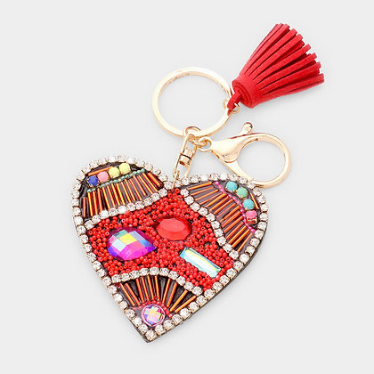 Red Rhinestone Trim Crystal Beaded Heart Tassel Key Chain