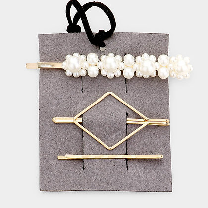 Cluster Pearl & Metal Hair Bobby Pins - Set of 3