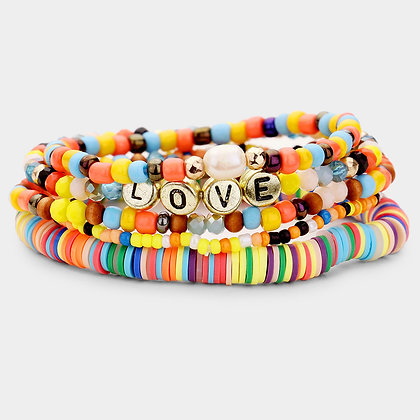 Love Multi Bead Stretch Layered Bracelet - Set of 5