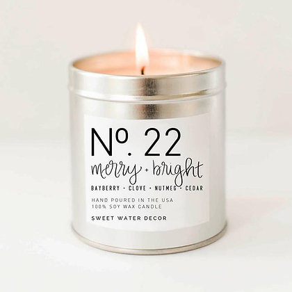 Merry and Bright Soy Candle | Silver Tin Candle by Sweet Water Decor®