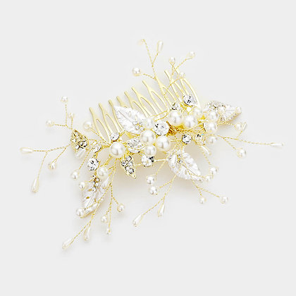 PEARL FLORAL BRANCH HAIR COMB