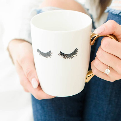 Eyelashes Gold Coffee Mug by Sweet Water Decor®