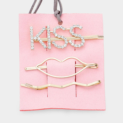 """KISS"" Rhinestone Pave Metal Bobby Pins - Set of 3"