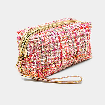Pink Tweed Plaid Pouch Bag