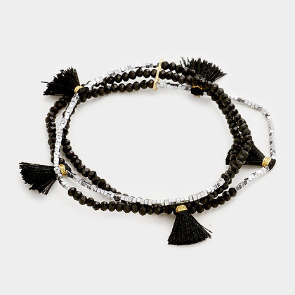 3 Layers Beaded Tassel Station Stretch Bracelet