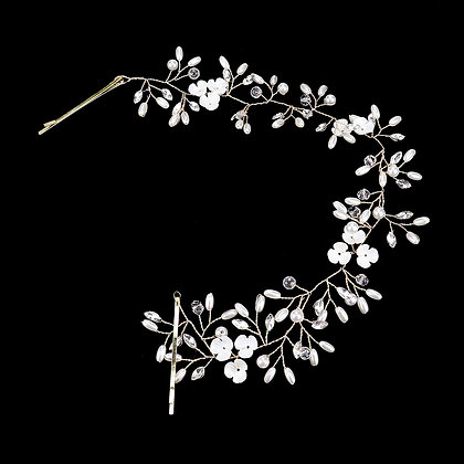 PEARL BEAD FLOWER VINE HAIR COMB