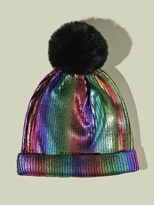 Metallic Pom Pom Beanie Hat
