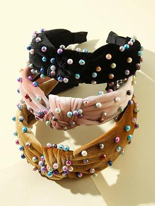 Faux Pearl Velvet Headband