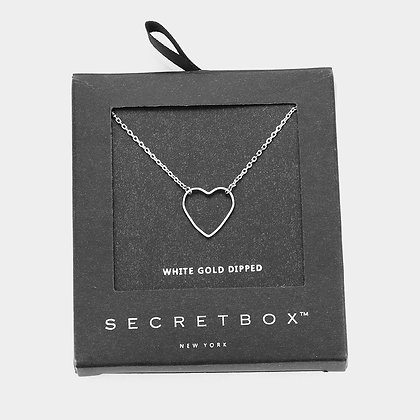 WHITE GOLD DIPPED HEART PENDANT NECKLACE