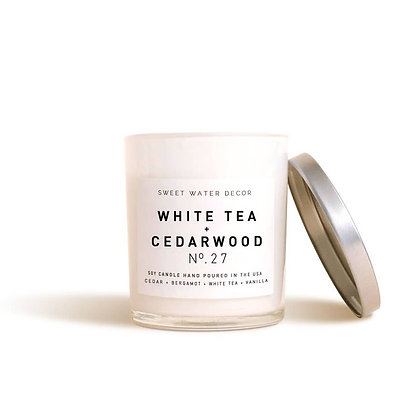 White Tea and Cedarwood Soy Candle | White Jar Candle by Sweet Water Decor®