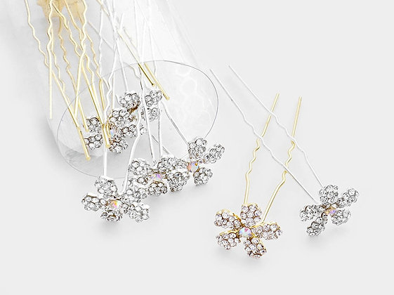 ROUND CRYSTAL FLORAL HAIR COMB PINS
