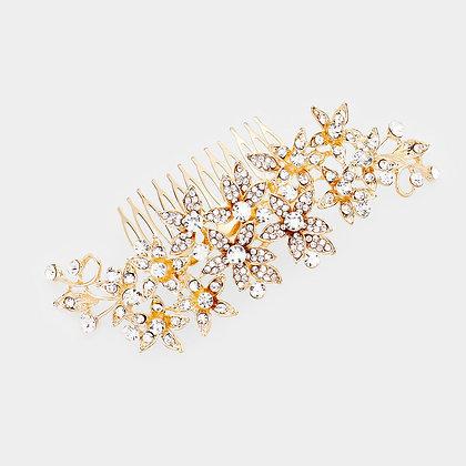 RHINESTONE PAVE FLOWER CLUSTER VINE HAIR COMB