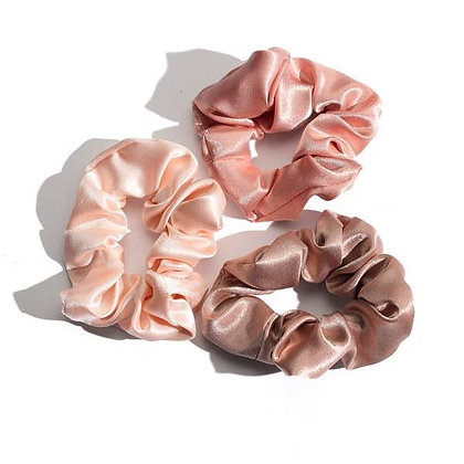 Blush Satin Scrunchie Set of 3 - Mulberry & Grand