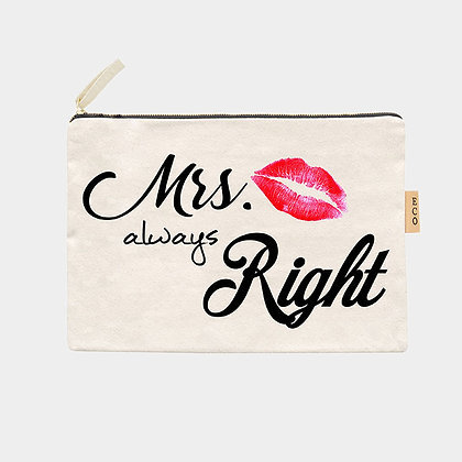 Always Mrs. Right Cotton Canvas Eco Pouch Bag