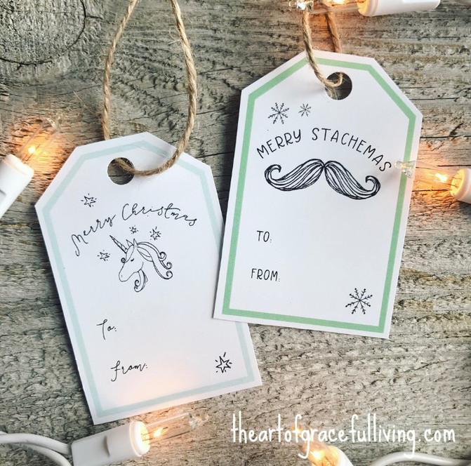 Free Printable Christmas Tags: Unicorns & Staches