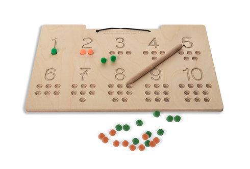 Ξύλινη πινακίδα προγραφής και εκμάθησης των αριθμών 1-10