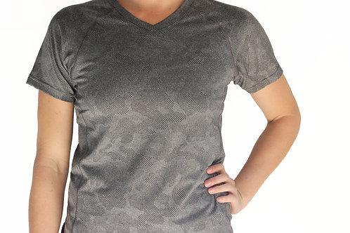 Women's Black Camo Short Sleeve V-Neck Court Tee