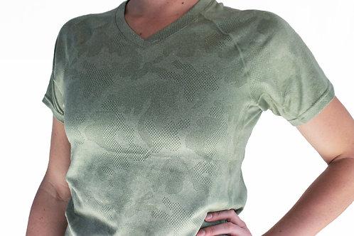 Women's Hunter Camo Short Sleeve V-Neck Court Tee