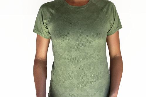 Women's Hunter Green Camo Short Sleeve Crew Neck Court Tee