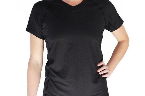 Women's Black Short Sleeve V-Neck Court Tee
