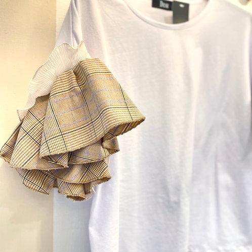 T-shirt con maniche lavorate