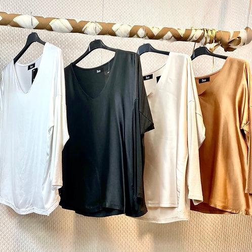 Blusa in raso e jersey -scollo a V