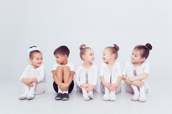 Group of kids boys and girls dancing at