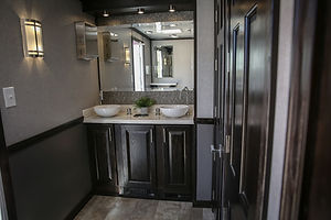Womens double sink, in 3 stall trailer