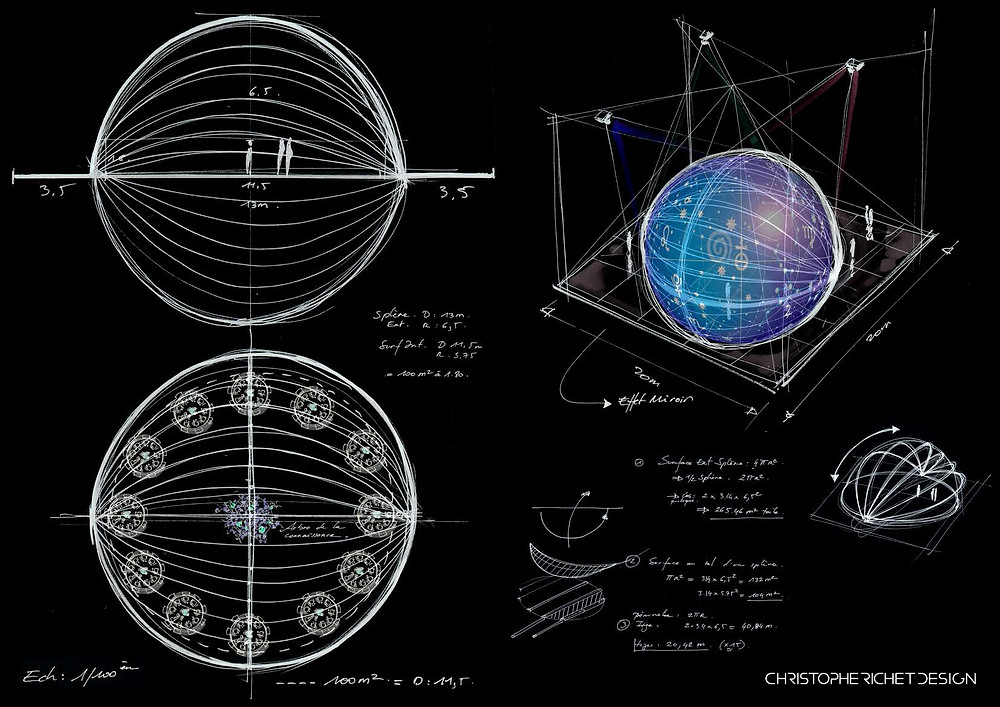 Croquis de recherche pour la conception d'un dôme de 144 couverts constitué d'une demie sphère pour espace de projection et d'un sol effet miroir.
