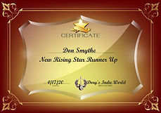 New Rising Star Runner Up Certificate