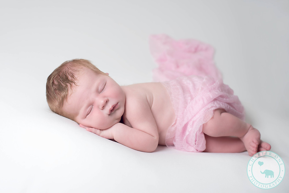 Baby pink wrap newborn photography