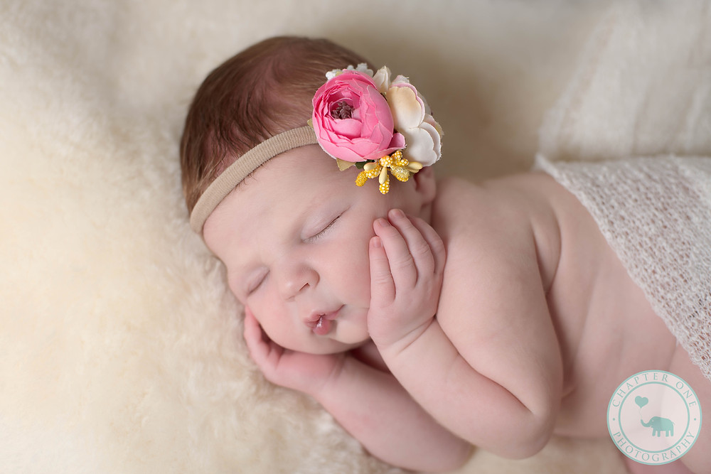 Newborn with headband Sydney Photography