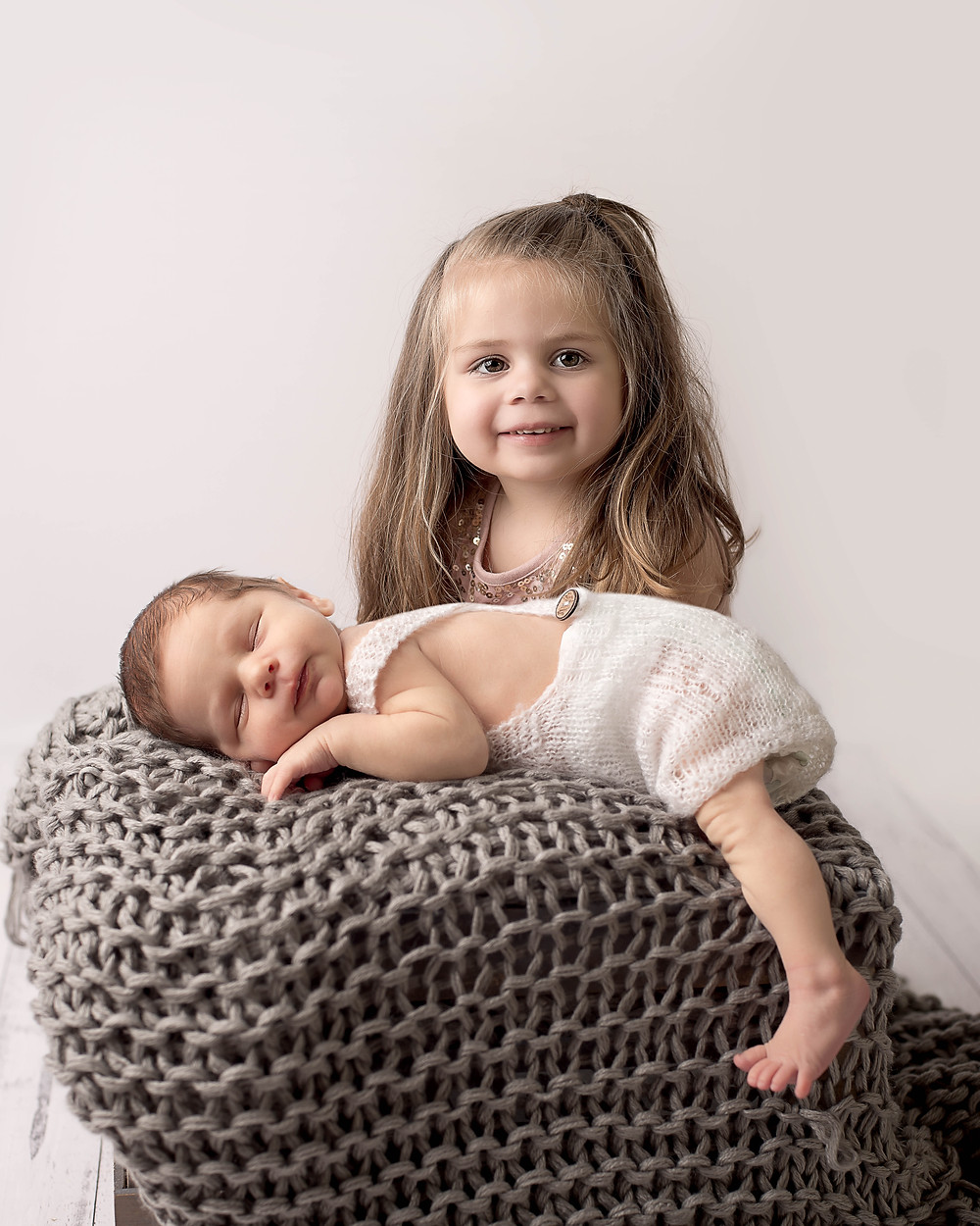 Newborn and sister family photos