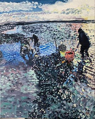 Mussel Fishermen at Work in Wells-Next-The-Sea Norfolk