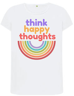 think happy thoughts organic cotton tshirt created with sustainably sourced cotton, printed on demand and is supporting the british charity MIND with every purchase