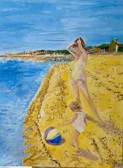 Saint Tropez Woman Girl Ball Oil Paintin