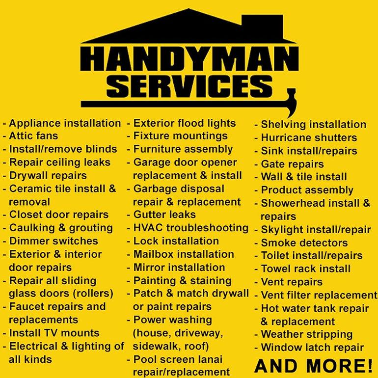 handyman list of services