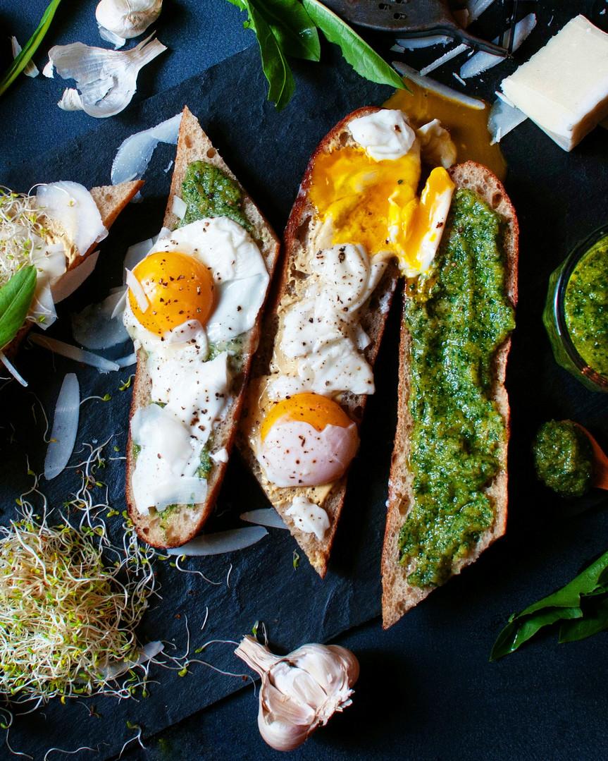 Dandelion Pesto & Eggs on Toast
