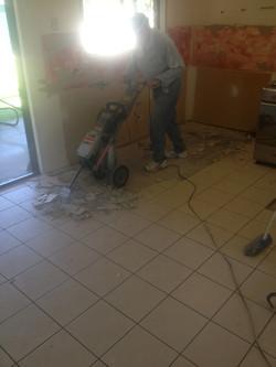 prepping for new floor tiles