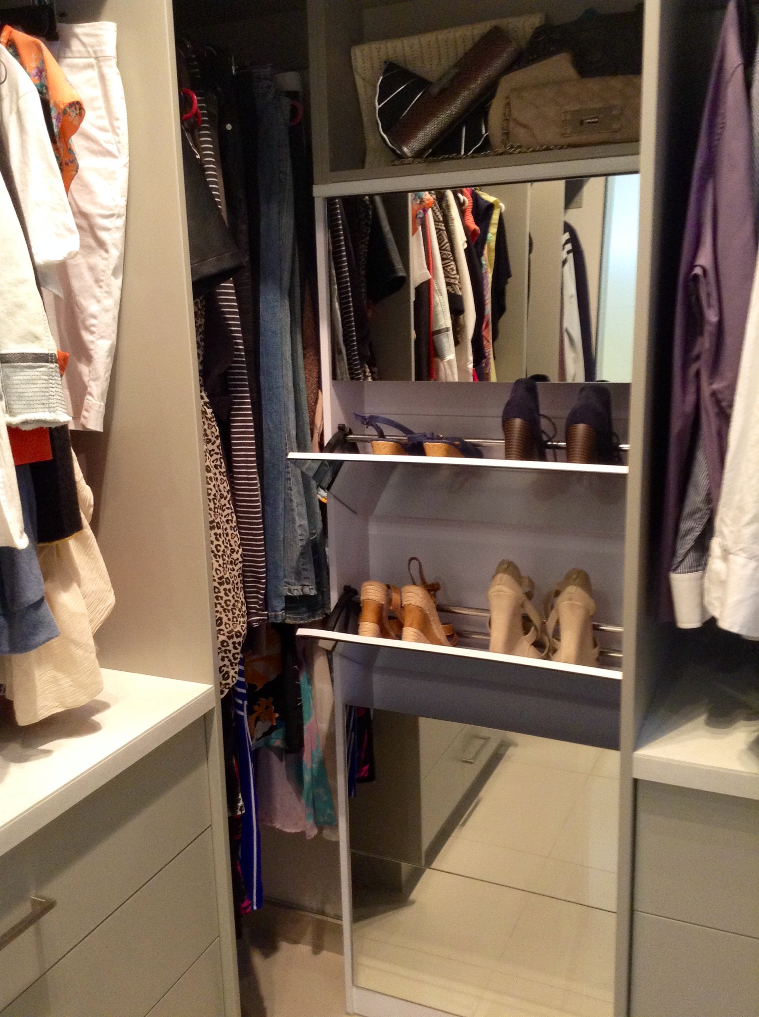full length mirrored shoe cabinet