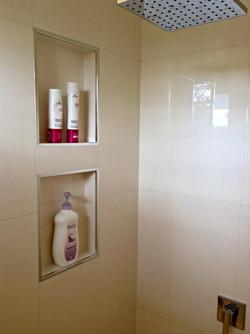 built in shower shelving