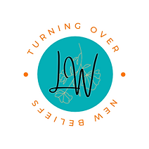 """Logo: orange text reads """"turning over new beliefs"""" and circles around a teal circle with the outline of an orange flower hanging upside-down. On top, in cursive the letters L W."""