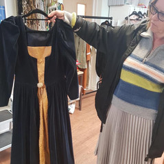 A Laura Ashley number turned into a posh Tudor costume by volunteer Veronica, encouraged by Pat, one of our team leaders.