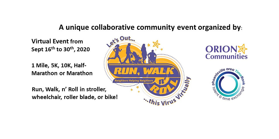 Let's Out Run, Walk n' Roll this Virus Virtually - Sept 16 - Oct 30