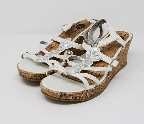 Girl Girls Total White 4 Cork Jeweled SandalsSize UzVLSMpqG