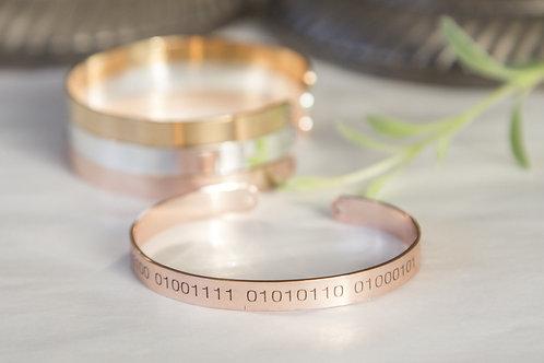 Binary Code Bracelet, Secret Message Geeky Engraved Cuff, Custom