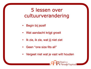 5 Jaar Vitaal door Menselijk Kapitaal, 5 lessen over cultuurverandering.