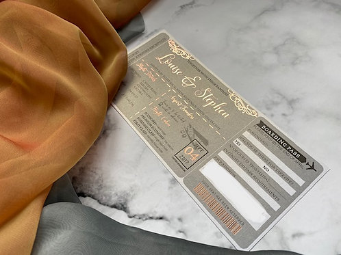 Rose Gold and Grey Ticket and Passport