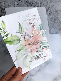 Foiled vellum flower wedding invite