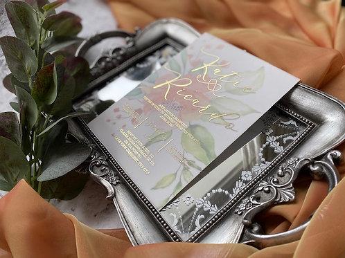 Silver foiled vellum flower invite